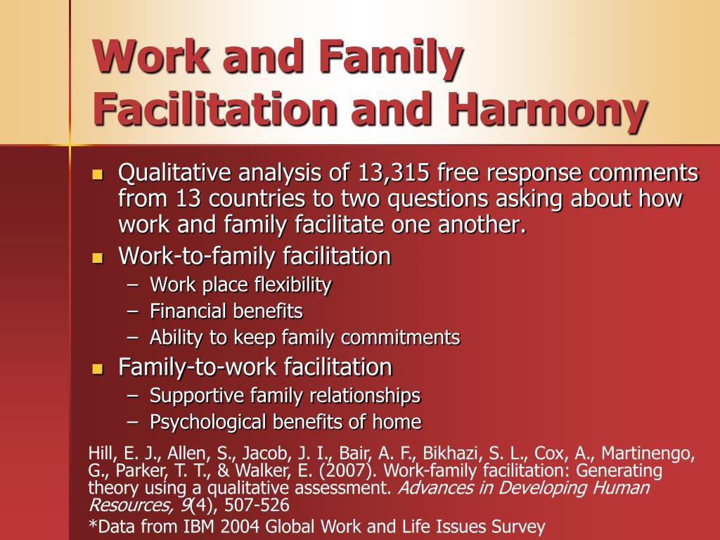 Work and Family Facilitation and Harmony