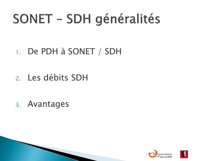 SONET – SDH généralités