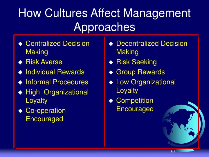 How cultures affect management approaches