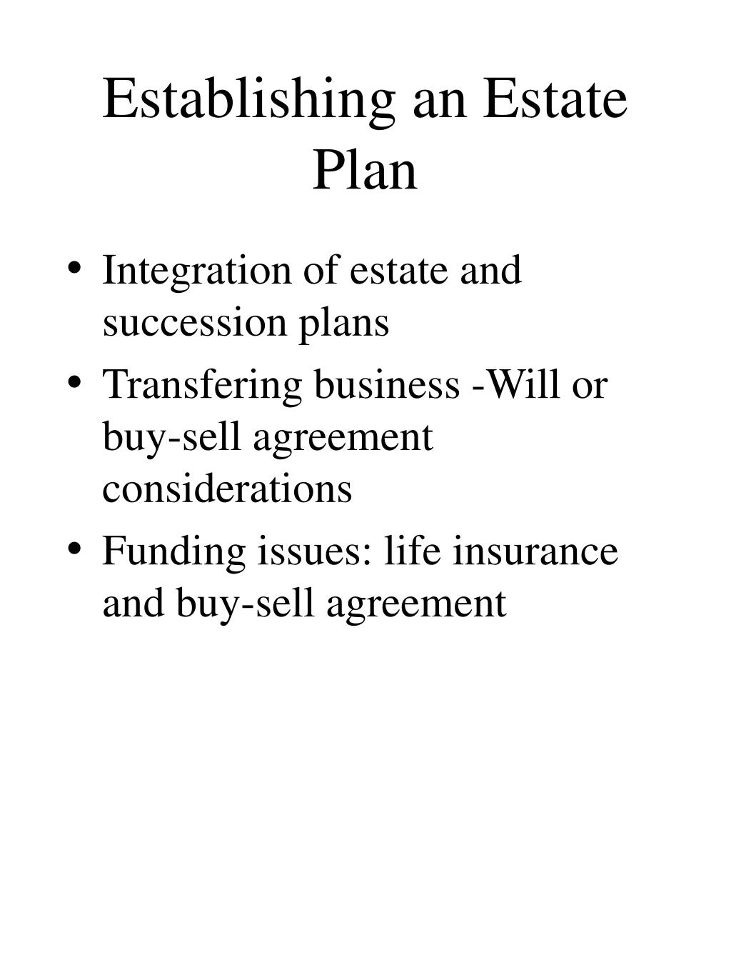 Establishing an Estate Plan