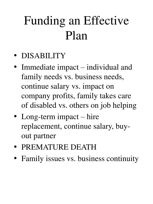 Funding an Effective Plan
