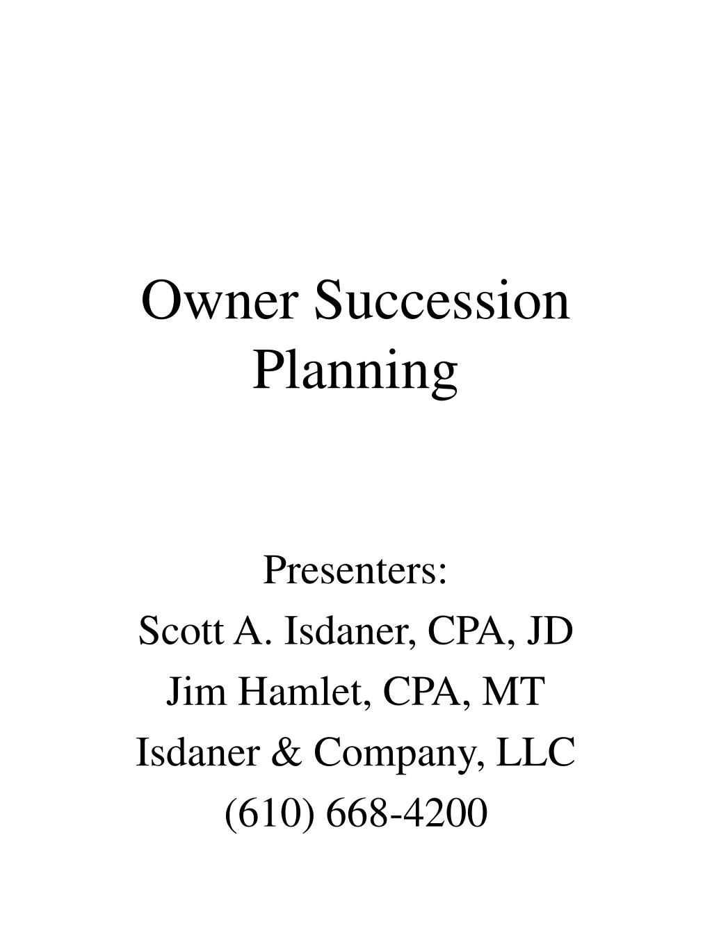 Owner Succession Planning