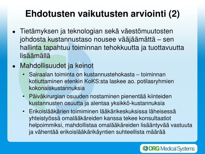 Ehdotusten vaikutusten arviointi (2)