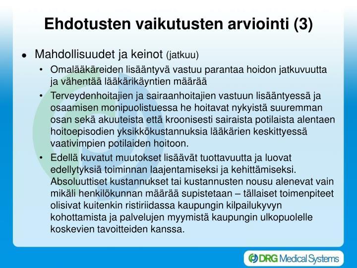 Ehdotusten vaikutusten arviointi (3)