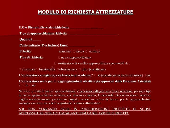 MODULO DI RICHIESTA ATTREZZATURE