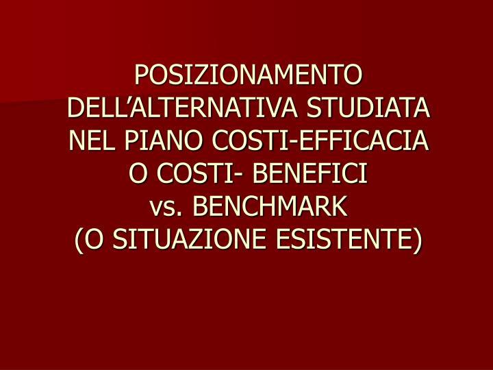 POSIZIONAMENTO DELL'ALTERNATIVA STUDIATA NEL PIANO COSTI-EFFICACIA
