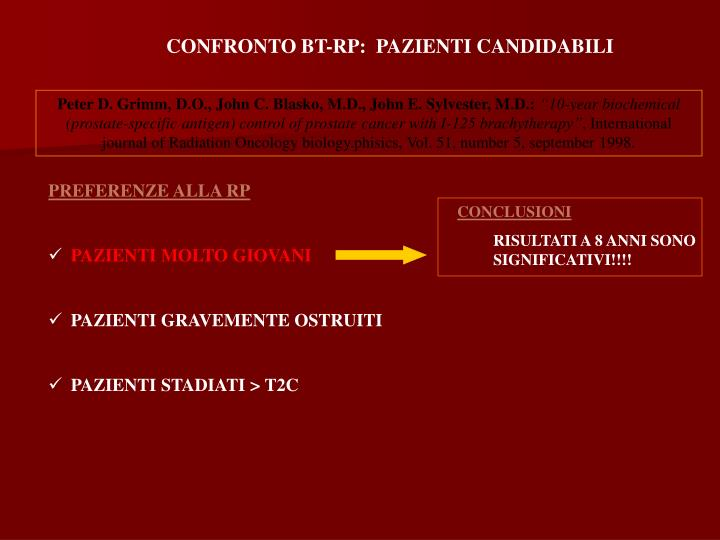 CONFRONTO BT-RP:  PAZIENTI CANDIDABILI