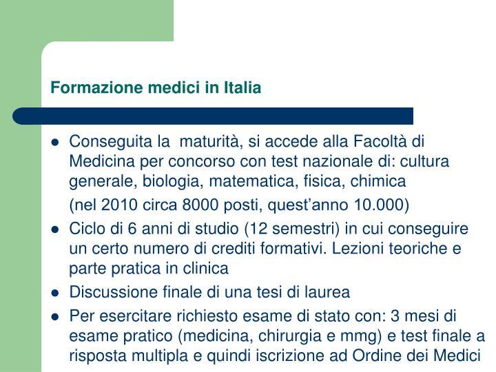Formazione medici in Italia