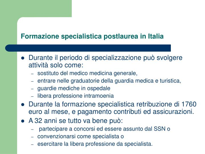 Formazione specialistica postlaurea in Italia