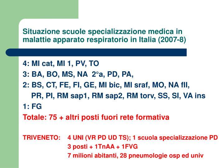 Situazione scuole specializzazione medica in malattie apparato respiratorio in Italia (2007-8)