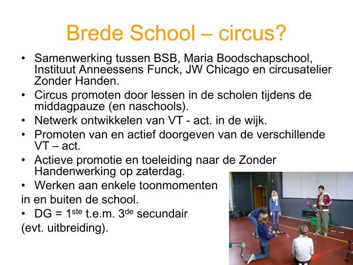 Brede School – circus?