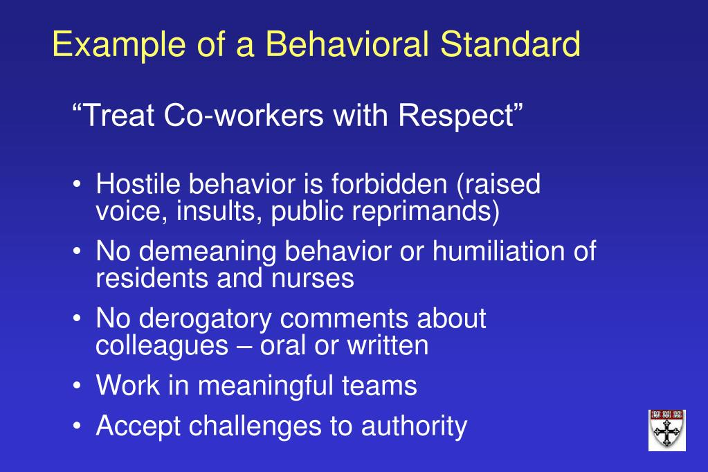 Example of a Behavioral Standard