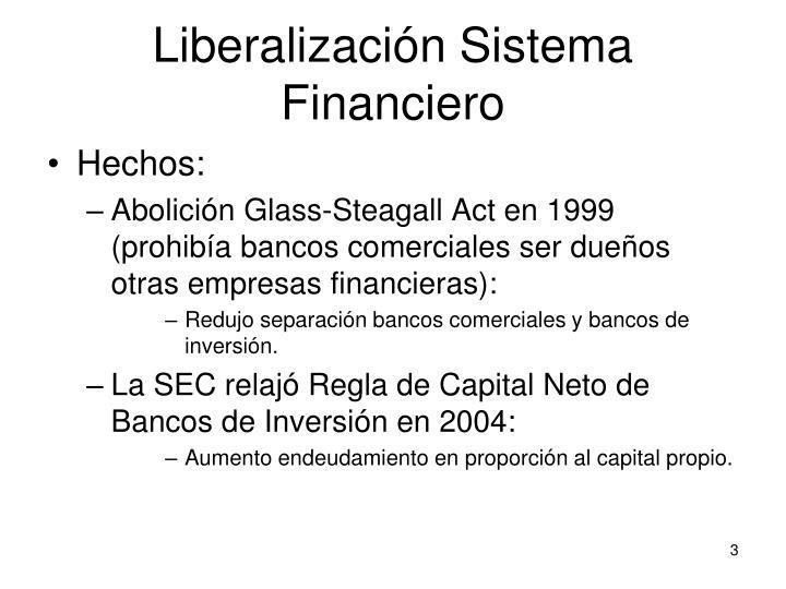 Liberalización Sistema Financiero