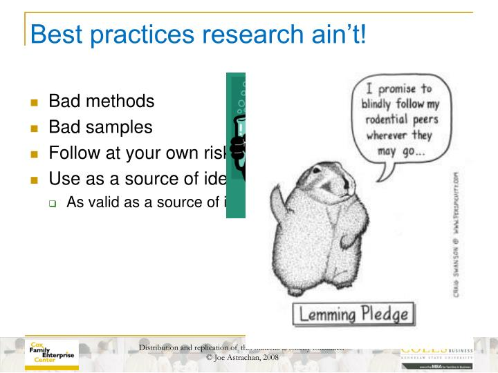 Best practices research ain t