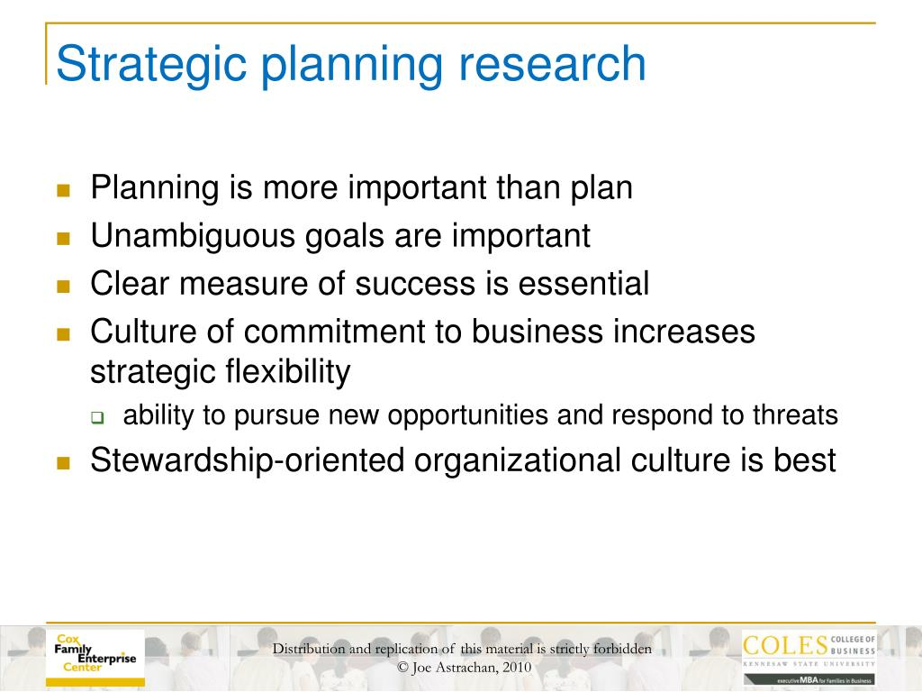 Strategic planning research