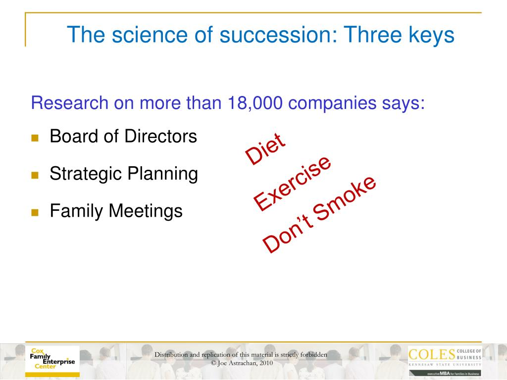 The science of succession: Three keys