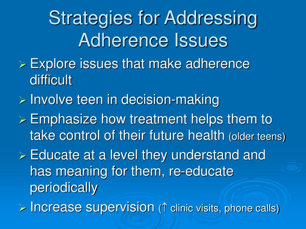 Strategies for Addressing Adherence Issues