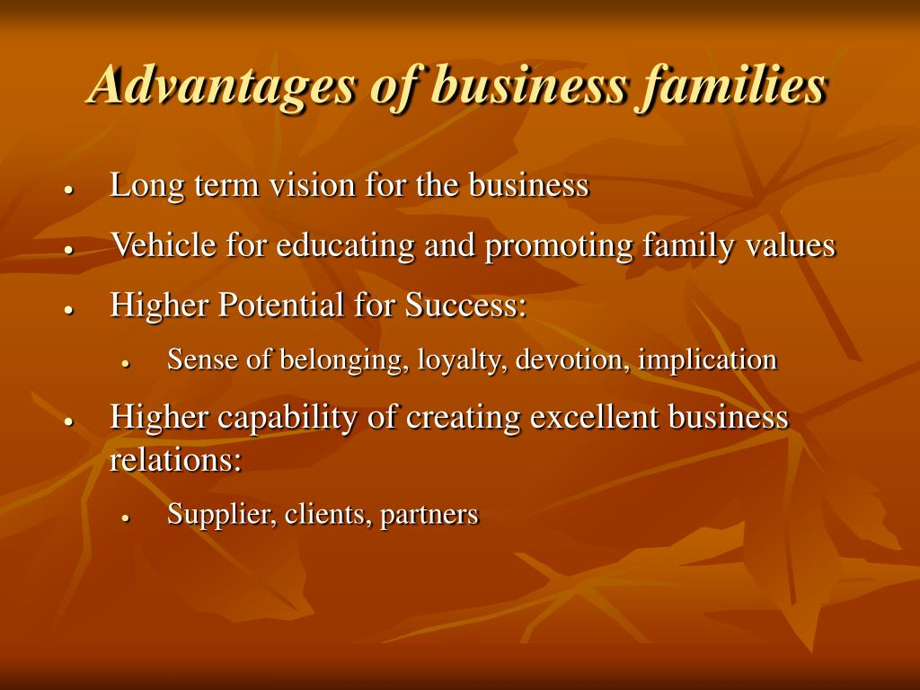 Advantages of business families