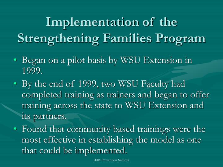 Implementation of the strengthening families program