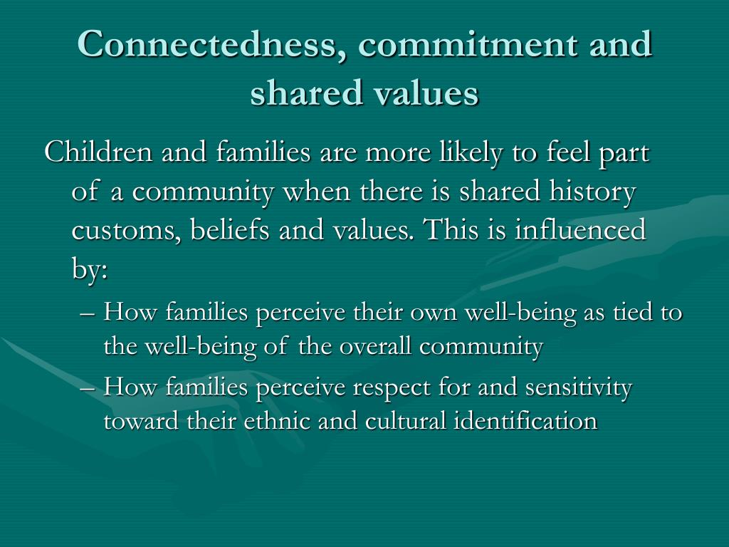 Connectedness, commitment and shared values
