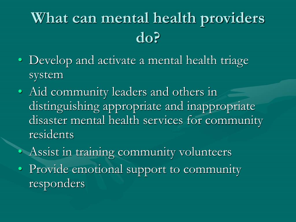 What can mental health providers do?