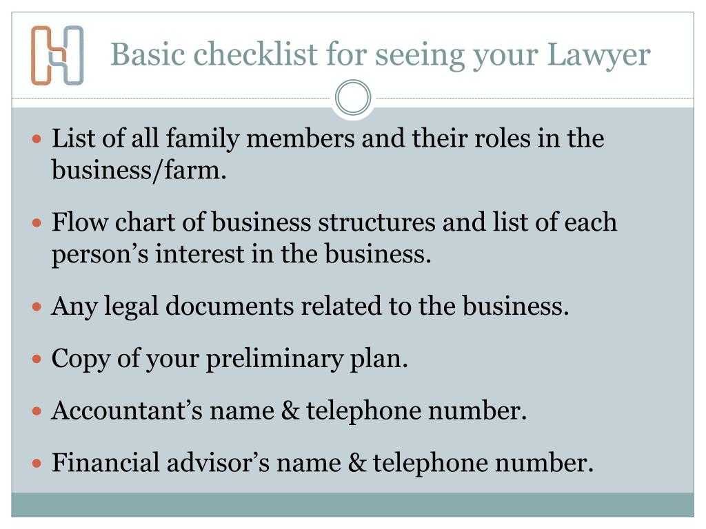 Basic checklist for seeing your Lawyer