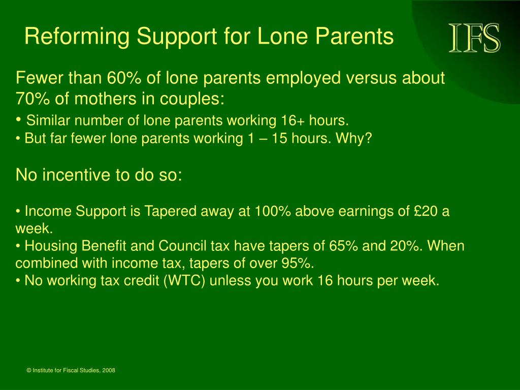 Reforming Support for Lone Parents