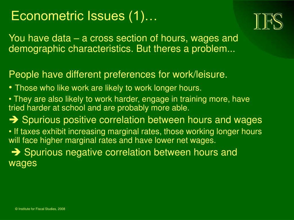 Econometric Issues (1)…