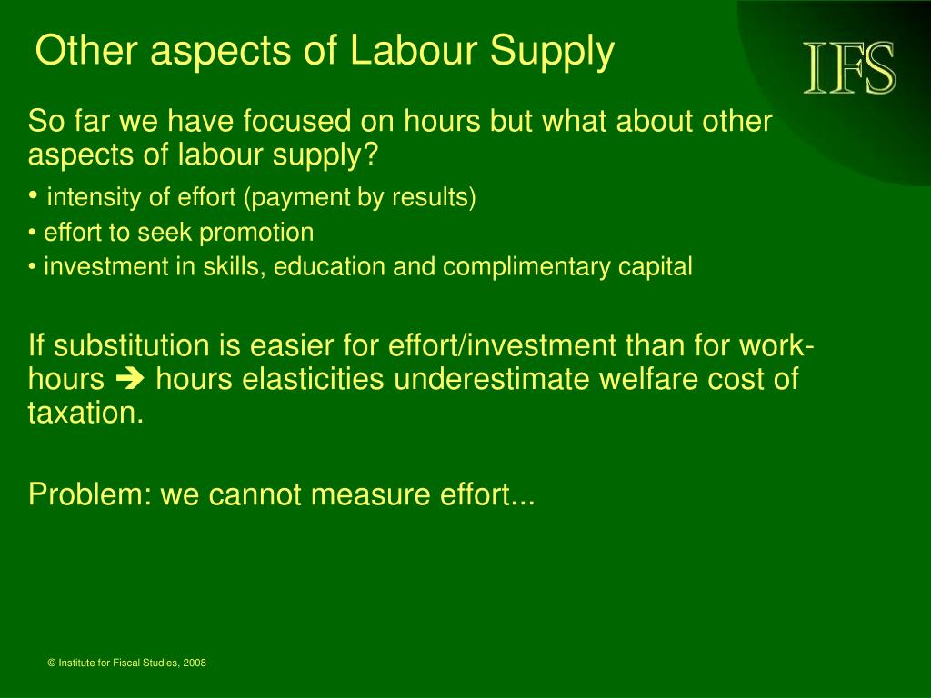 Other aspects of Labour Supply