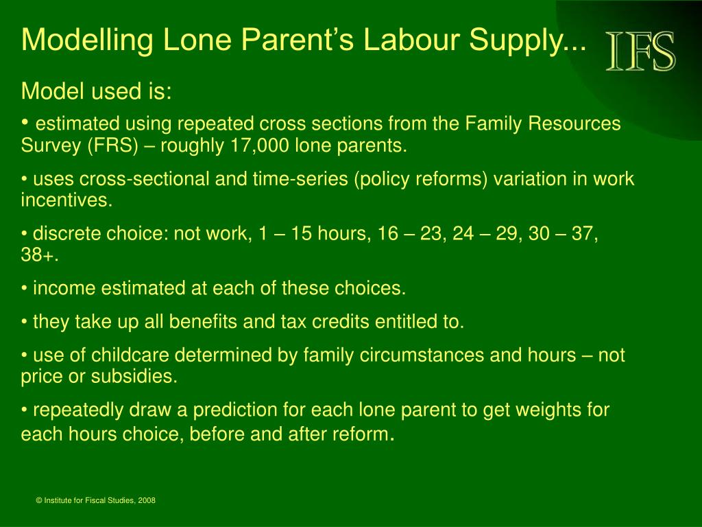 Modelling Lone Parent's Labour Supply...