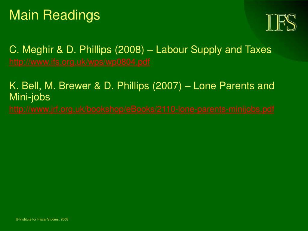 Main Readings