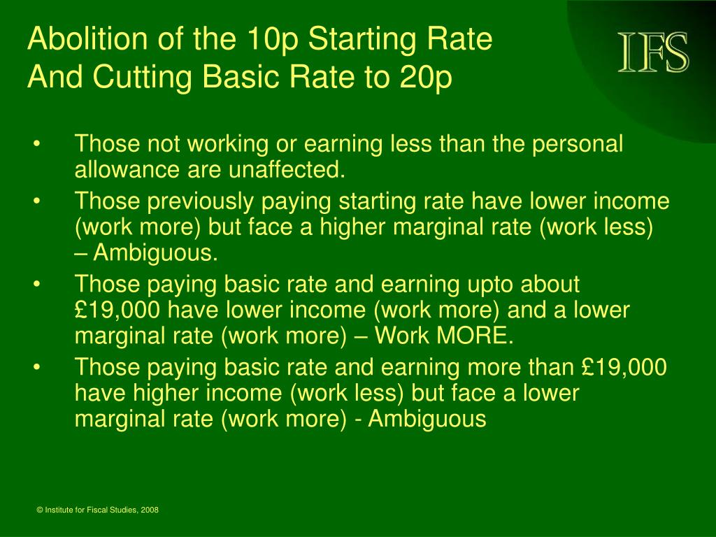 Abolition of the 10p Starting Rate