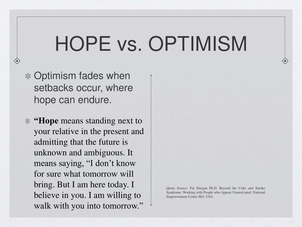 HOPE vs. OPTIMISM