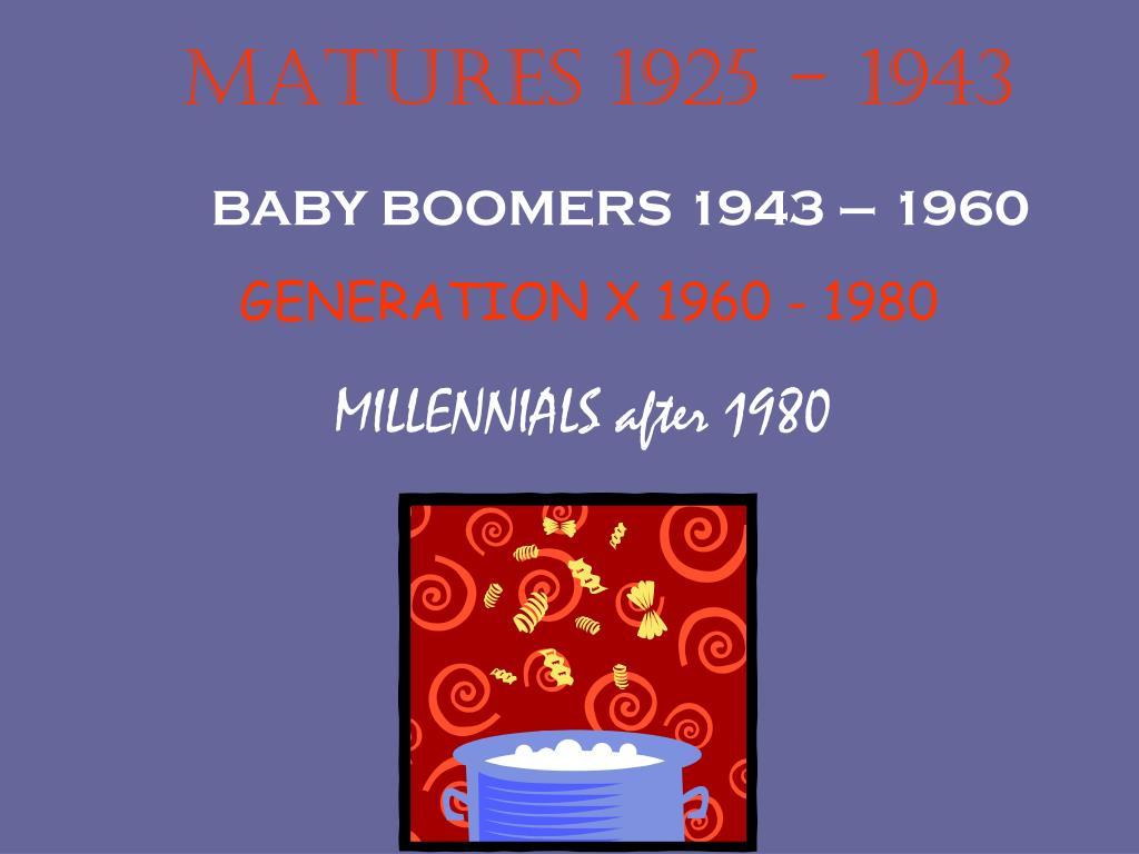 MATURES 1925 - 1943