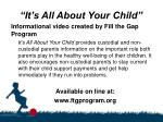 it s all about your child
