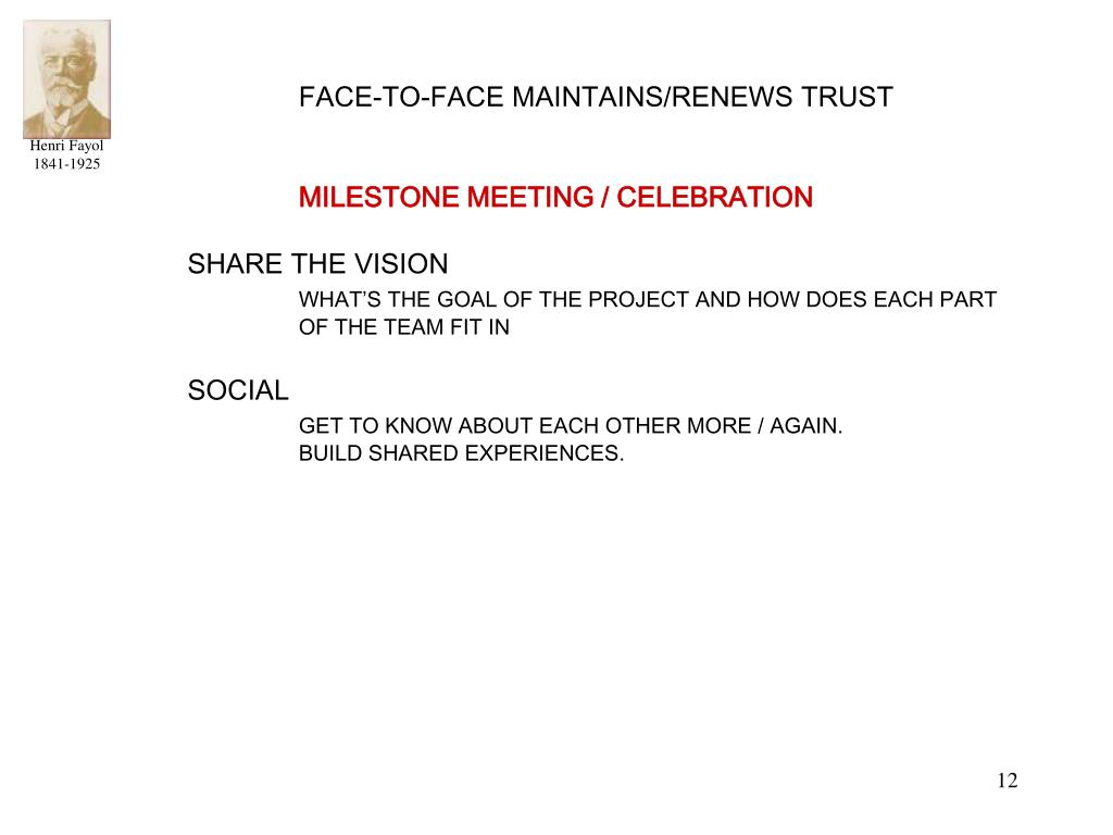 FACE-TO-FACE MAINTAINS/RENEWS TRUST