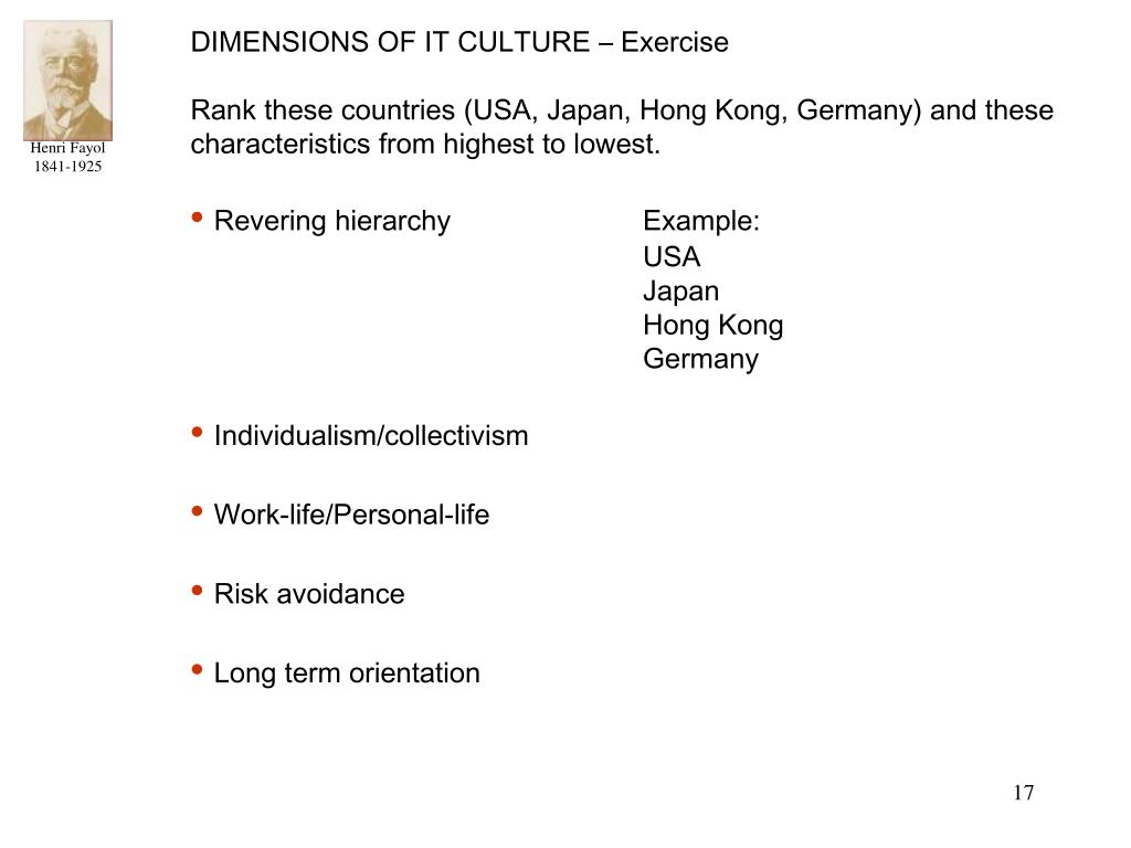 DIMENSIONS OF IT CULTURE – Exercise