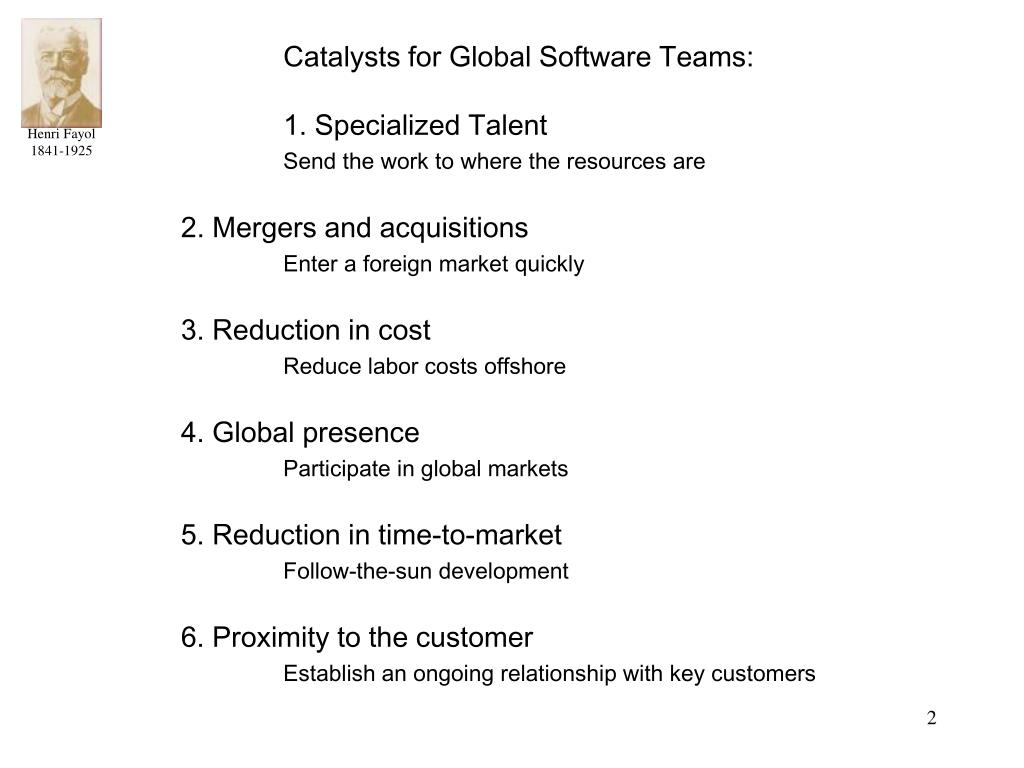Catalysts for Global Software Teams: