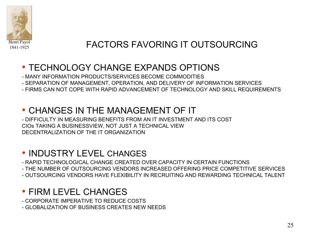 FACTORS FAVORING IT OUTSOURCING