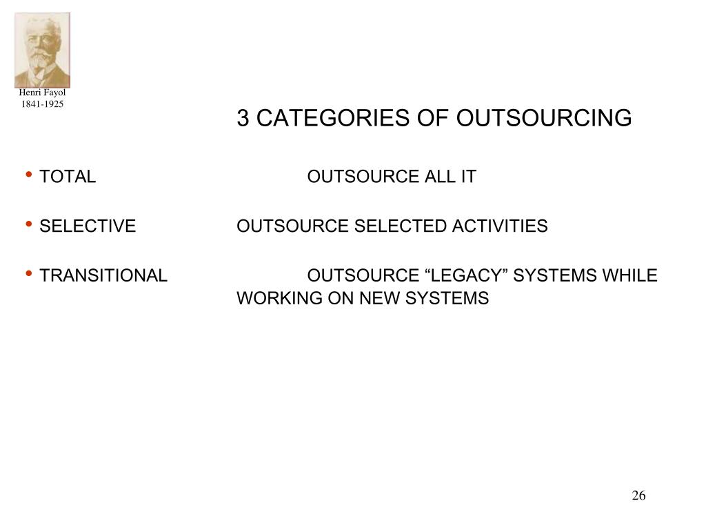 3 CATEGORIES OF OUTSOURCING