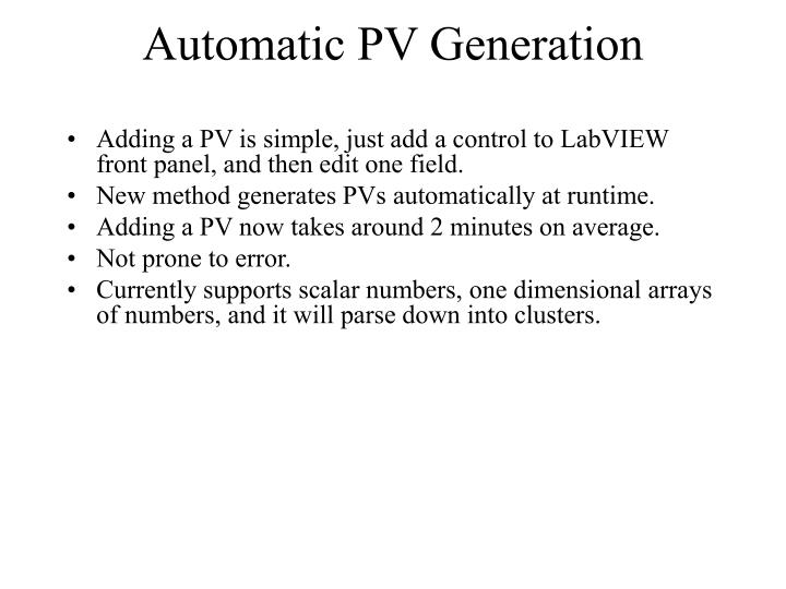 Automatic PV Generation