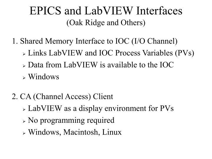 EPICS and LabVIEW Interfaces