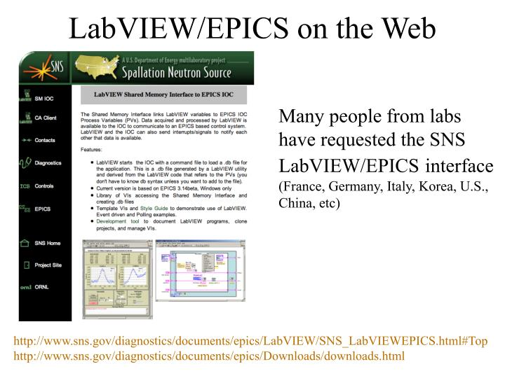 LabVIEW/EPICS on the Web