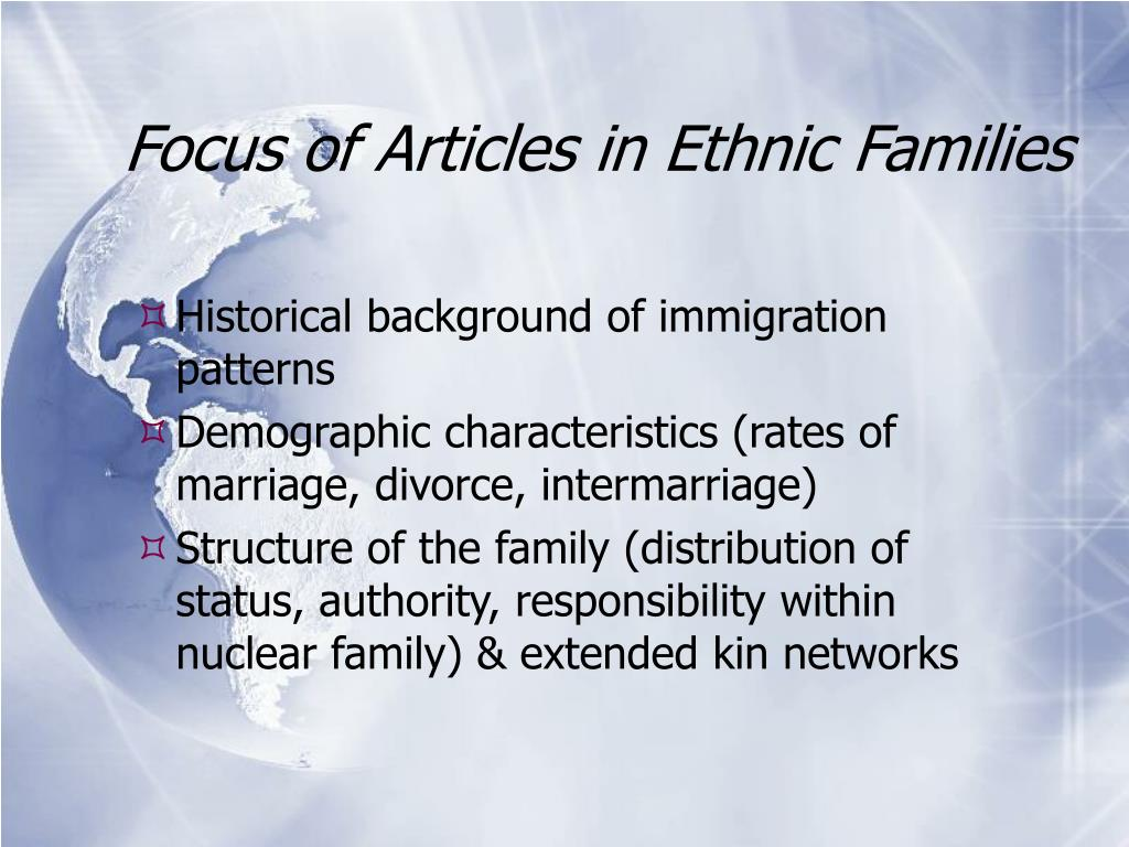 Focus of Articles in Ethnic Families