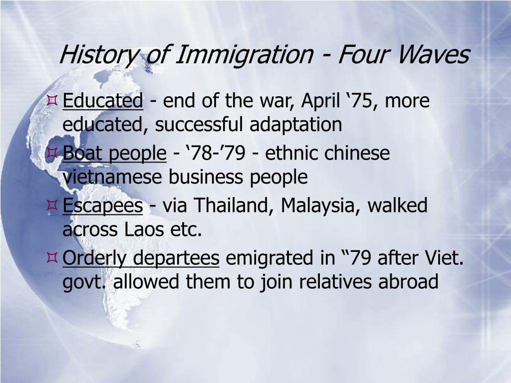 History of Immigration - Four Waves