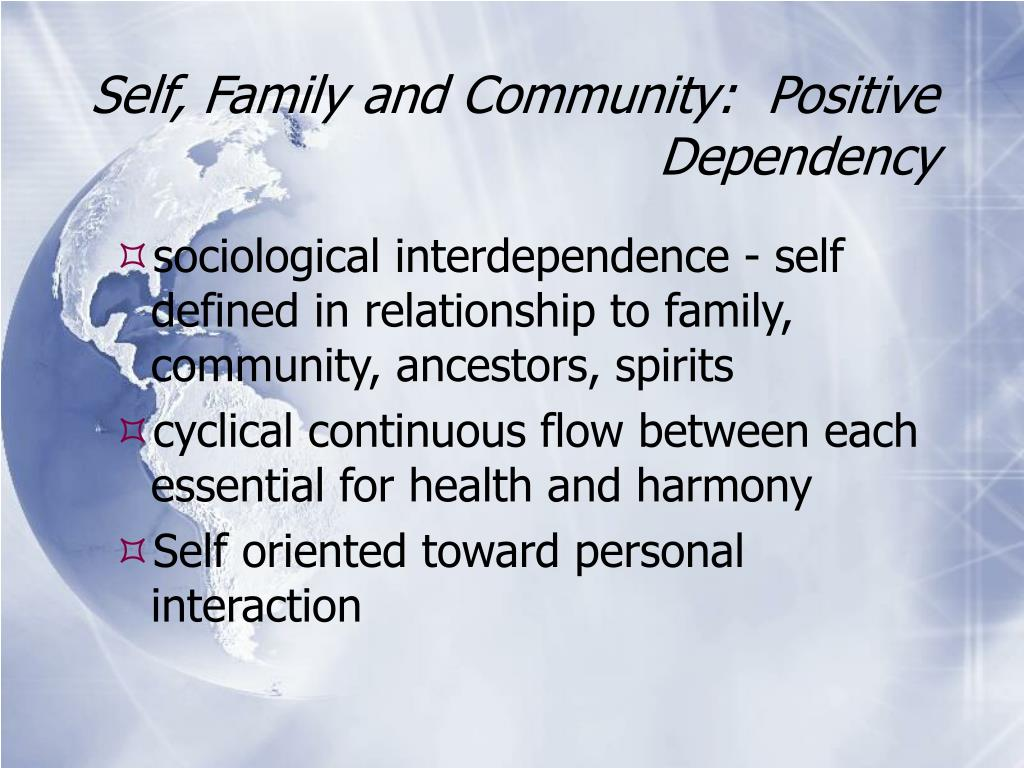 Self, Family and Community:  Positive Dependency
