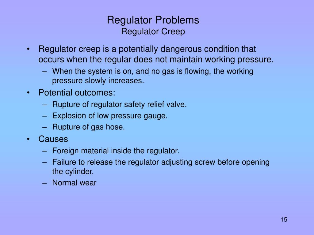 Regulator Problems
