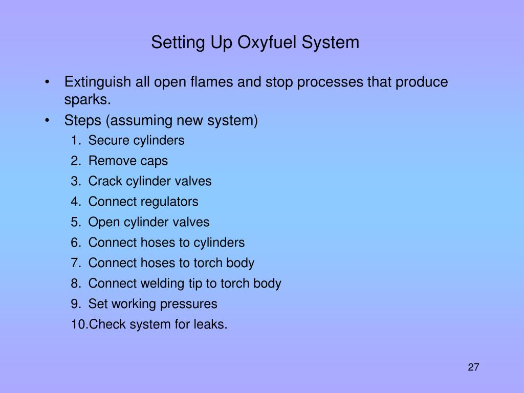 Setting Up Oxyfuel System