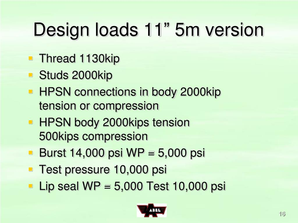 "Design loads 11"" 5m version"