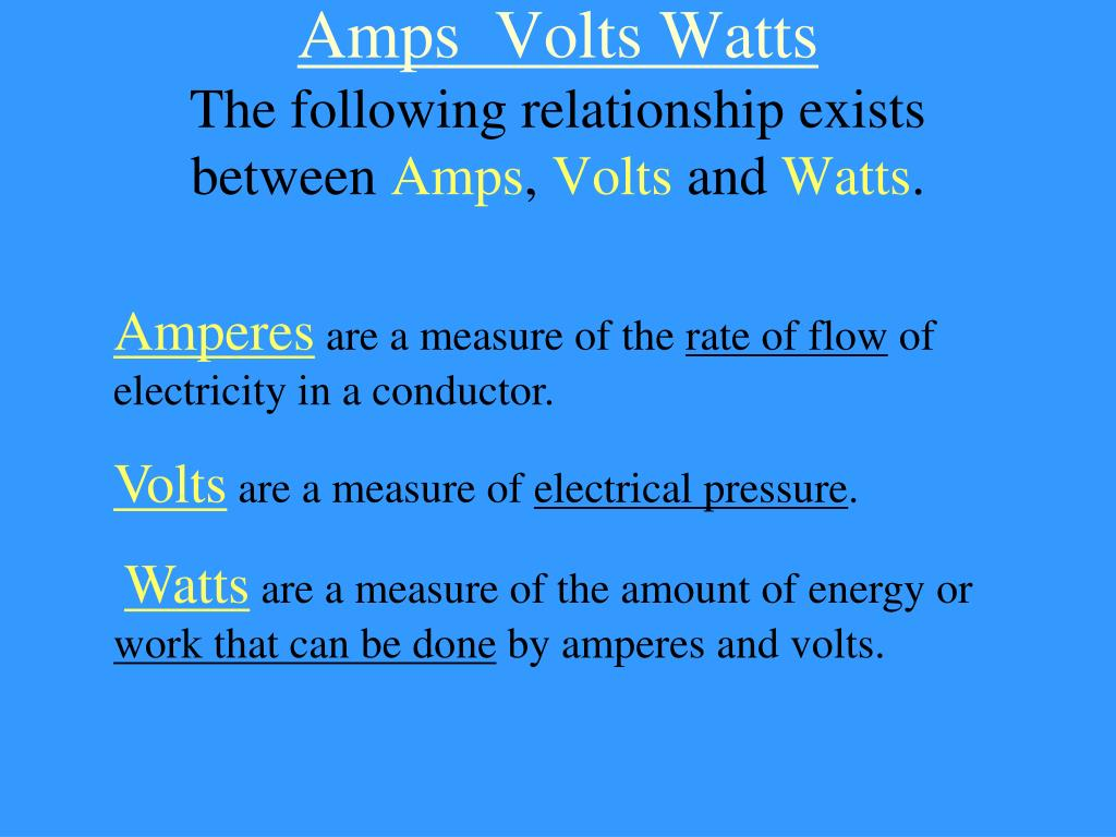 Amps  Volts Watts